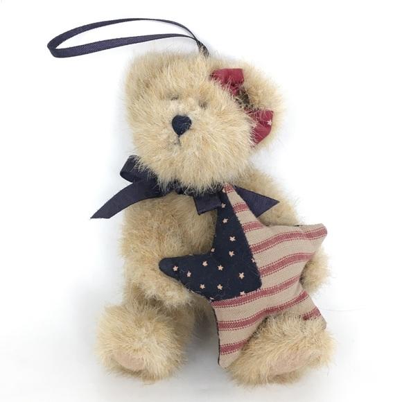 Boyd's Bear Plush Patriotic Ornament The Head Bean